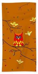 Whimsical Autumn Colors - Birds Owls Hand Towel