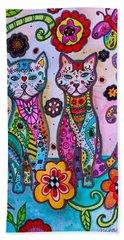 Whimsical Talavera Cats Hand Towel