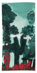 Hand Towel featuring the painting Whimsical Wintry Trees by Karen Nicholson