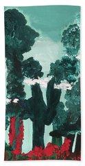 Whimsical Wintry Trees Bath Towel by Karen Nicholson