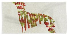 Bath Towel featuring the painting Whippet Watercolor Painting / Typographic Art by Inspirowl Design