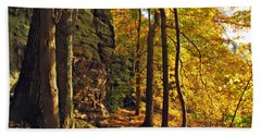 Hand Towel featuring the photograph Whipp's Ledges In Autumn by Joan  Minchak