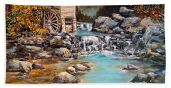 Hand Towel featuring the painting Whisper Run Mill by Alan Lakin