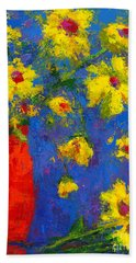 Abstract Floral Art, Modern Impressionist Painting - Palette Knife Work Bath Towel