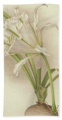 White Amaryllis   Ismene Andreana Bath Towel
