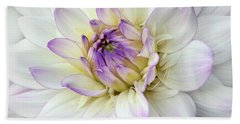 White And Purple Dahlia Bath Towel