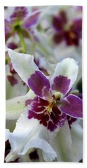 Purple And White Orchid Bath Towel