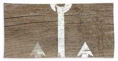White And Wood Anchor- Art By Linda Woods Hand Towel