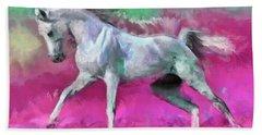 White Arabian Horse Art Hand Towel
