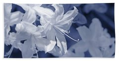 Bath Towel featuring the photograph White Azalea Flowers Blues by Jennie Marie Schell