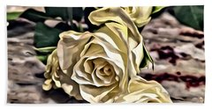 White Baby Roses Hand Towel