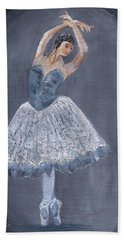 Hand Towel featuring the painting White Ballerina by Jamie Frier