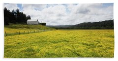 White Barn And Yellow Fields Hand Towel by Mark Alder