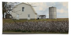 Hand Towel featuring the photograph White Barn Cotton Patch Sunny by Rosalie Scanlon