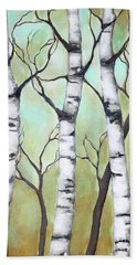 Bath Towel featuring the painting White Birch by Inese Poga