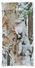 White Birch With Snow Bath Towel