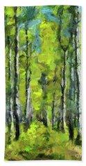 White Birches Hand Towel by Dragica Micki Fortuna