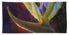 Hand Towel featuring the painting White Bird Of Paradise -tropical Flower Painting by Karen Whitworth