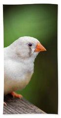 White Bird Standing On Deck Bath Towel