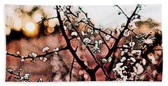 White Blossom Branches Bath Towel by Carol Crisafi