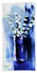 Bath Towel featuring the painting White Blossoms by Frank Bright