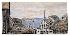 Bath Towel featuring the painting White Boat In Peggys Cove Nova Scotia by Ian  MacDonald