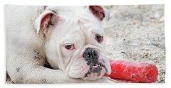 White Bull Dog Hand Towel