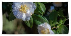 Hand Towel featuring the photograph White Camelia 02 by Gregory Daley  PPSA