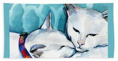 White Cat Affection Hand Towel