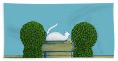 White Cat Blue Sky Hand Towel