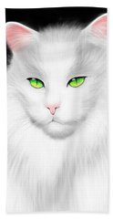 White Cat Bath Towel by Salman Ravish