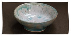 White Ceramic Bowl With Turquoise Blue Glaze Drips Bath Towel by Suzanne Gaff