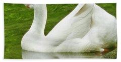 White Chinese Goose Hand Towel by Susan Garren