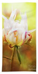 White Chinese Peony Laden With Raindrops Hand Towel