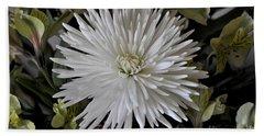 White Chrysanthemum Hand Towel