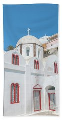 Hand Towel featuring the photograph White Church At Fira by Antony McAulay