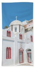 Bath Towel featuring the photograph White Church At Fira by Antony McAulay
