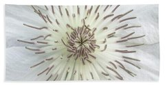 Hand Towel featuring the photograph White Clematis Flower Macro 50121c by Ricardos Creations