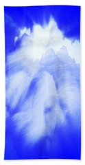 White Cloud In Blue Bath Towel by Kellice Swaggerty