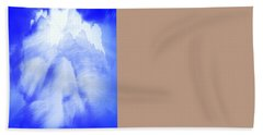 White Cloud In Blue Bath Towel