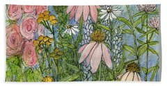 Hand Towel featuring the painting White Coneflowers In Garden by Laurie Rohner