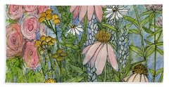 White Coneflowers In Garden Bath Towel