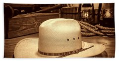 White Cowboy Hat In A Barn Bath Towel