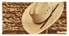 White Cowboy Hat On Fence Bath Towel
