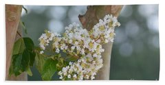 Bath Towel featuring the photograph White Crepe Myrtle by Maria Urso