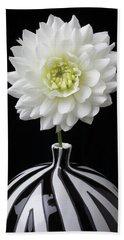 White Dahlia In Big Black And White Vase Hand Towel