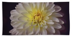 White Dahlia Bath Towel