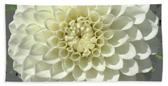 Hand Towel featuring the photograph White Dahlia by Robin Maria Pedrero