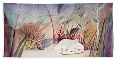 White Doe Dreaming Hand Towel