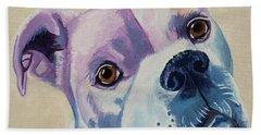 White Dog Portrait Bath Towel